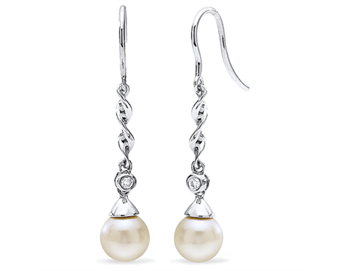 14k White Gold 6.5mm Akoya Pearl &amp; Diamond Drop Earrings 